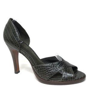 LAUREN RALPH LAUREN Green Leather Heels 9.5B